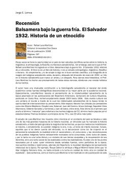 Recensión Balsamera bajo la guerra fría. El Salvador 1932. Historia