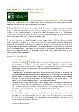PROGRAMA ADELGAZANTE Y/O ANTICELULÍTICO CALDES DE BOÍ
