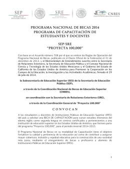 PROGRAMA NACIONAL DE BECAS 2014 PROGRAMA DE