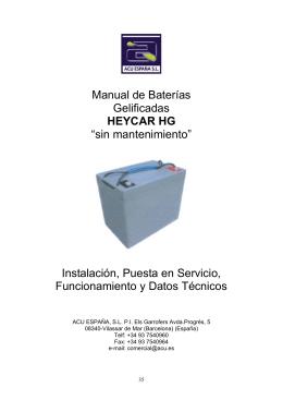 """Manual de Baterías Gelificadas HEYCAR HG """"sin mantenimiento"""