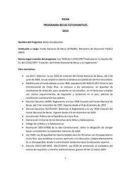 FICHA PROGRAMA BECAS ESTUDIANTILES 2014
