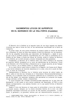 Yacimientos líticos de Superficie en el Barranco de la Valltorta