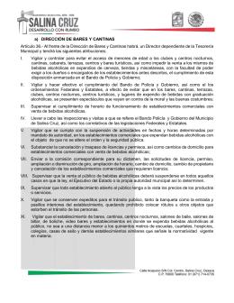 a) DIRECCIÓN DE BARES Y CANTINAS Artículo 36.