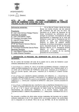 Junta de Gobierno Ordinaria del 14 de Noviembre de 2012