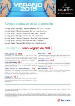 Descripción Bono Regalo de 600 $ Hoteles incluidos en la