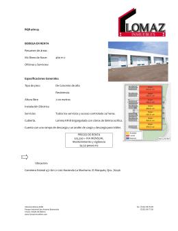 BQR-460-55 BODEGA EN RENTA Resumen de áreas M2 libres de