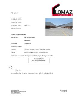 BQR-2448-51 BODEGA EN RENTA Resumen de áreas M2 libres de
