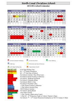 Yearly Calendar - North Coast Christian School