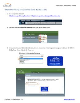GMetrix SMS Descarga e Instalación del Cliente (Español 3.1.0.0)
