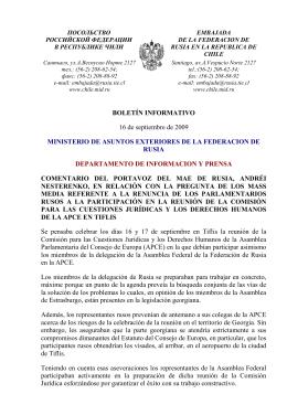 BOLETÍN INFORMATIVO 16 de septiembre de 2009 MINISTERIO