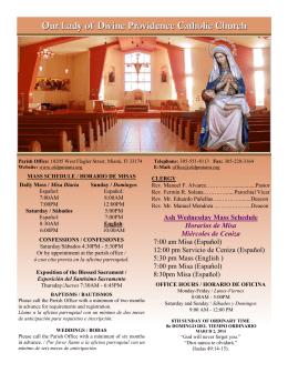 Ash Wednesday Mass Schedule Horarios de Misa Miércoles de