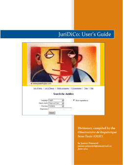 JuriDiCo: User`s Guide - Observatoire de linguistique Sens