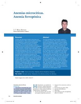 Anemias microcíticas. Anemia ferropénica