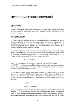 PRÁCTICA 4. ESPECTROFOTOMETRÍA