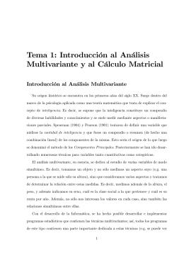 Tema 1: Introducción al Análisis Multivariante y al Cálculo Matricial