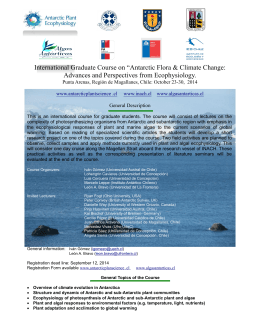 "International Graduate Course on ""Antarctic Flora & Climate Change"