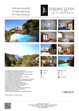 Villa para alquiler temporada larga en Cala Santanyi 1.850,00 €