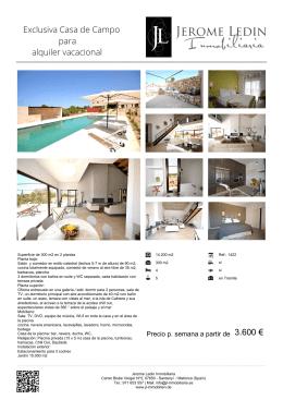 Exclusiva Casa de Campo para alquiler vacacional 3.600 €