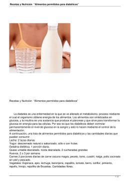 """Recetas y Nutrición """"Alimentos permitidos para diabéticos"""""""