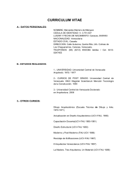 CURRICULUM VITAE - Universidad Central de Venezuela