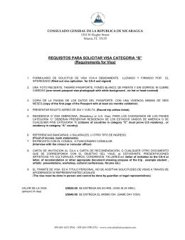 REQUISITOS PARA VISA - Consulado de Nicaragua en Miami Florida