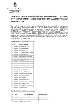 anuncio relación de admitidos/excluidos provisional para la