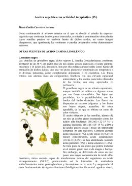 Aceites vegetales con actividad terapéutica (IV)