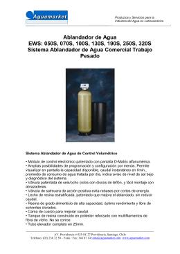 Ablandador de Agua EWS: 050S, 070S, 100S, 130S