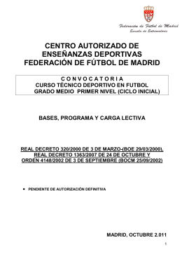 Convocatoria curso entrenador nivel 1 2011/12