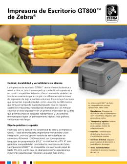 Impresora de Escritorio GT800™ de Zebra®