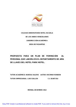 propuesta para un plan de formación al personal que labora en el
