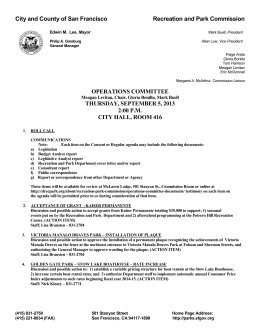 City and County of San Francisco Recreation and Park Commission