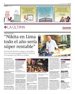 """""""Nikita en Lima todo el año sería súper rentable"""""""
