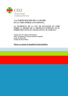 La participación de la mujer en la vida pública en España : la