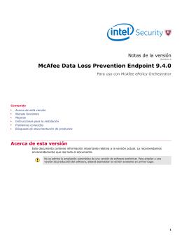 McAfee Data Loss Prevention Endpoint 9.4.0 Notas de la versión