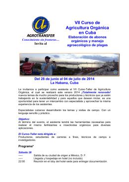 VII Curso de Agricultura Orgánica en Cuba