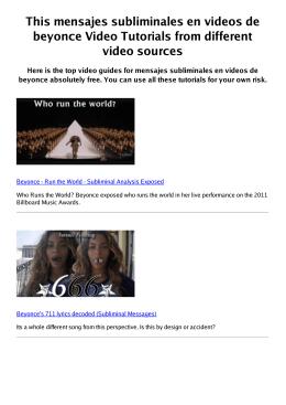 #Z mensajes subliminales en videos de beyonce PDF