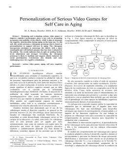 Personalization of Serious Video Games for Self Care in Aging