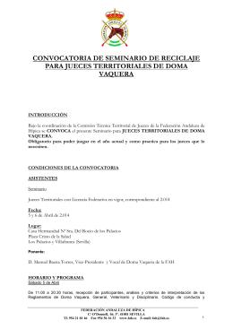 convocatoria de seminario de reciclaje para jueces territoriales de
