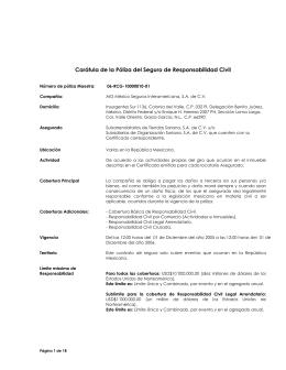 Carátula de la Póliza del Seguro de Responsabilidad Civil