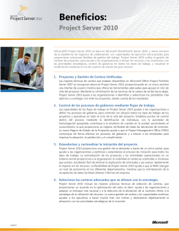 Beneficios de Project Server 2010