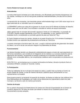 Centro Estatal de Acopio de Llantas Antecedentes La masiva