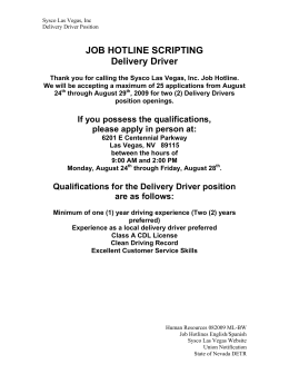JOB HOTLINE SCRIPTING Delivery Driver