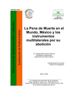 La Pena de Muerte en el Mundo, México y los instrumentos