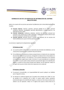 0 NORMAS DE USO DE LOS SERVICIOS DE