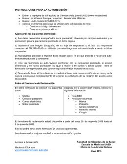 INSTRUCCIONES PARA LA AUTOREVISIÓN: Facultad de Ciencias