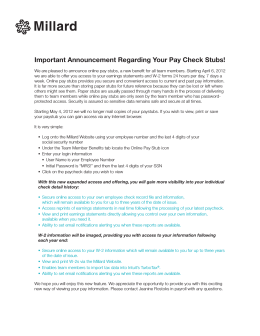 Important Announcement Regarding Your Pay Check Stubs!