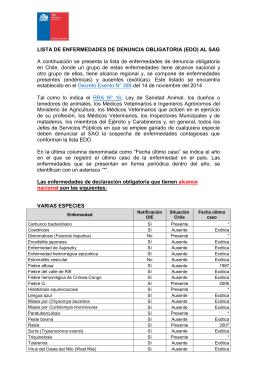 LISTA DE ENFERMEDADES DE DENUNCIA OBLIGATORIA (EDO