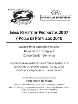 gran remate de productos 2007 y polla de potrillos 2010