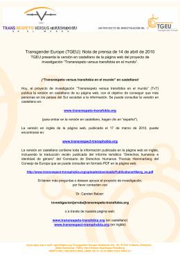 Transgender Europe (TGEU): Nota de prensa de 14 de abril de 2010